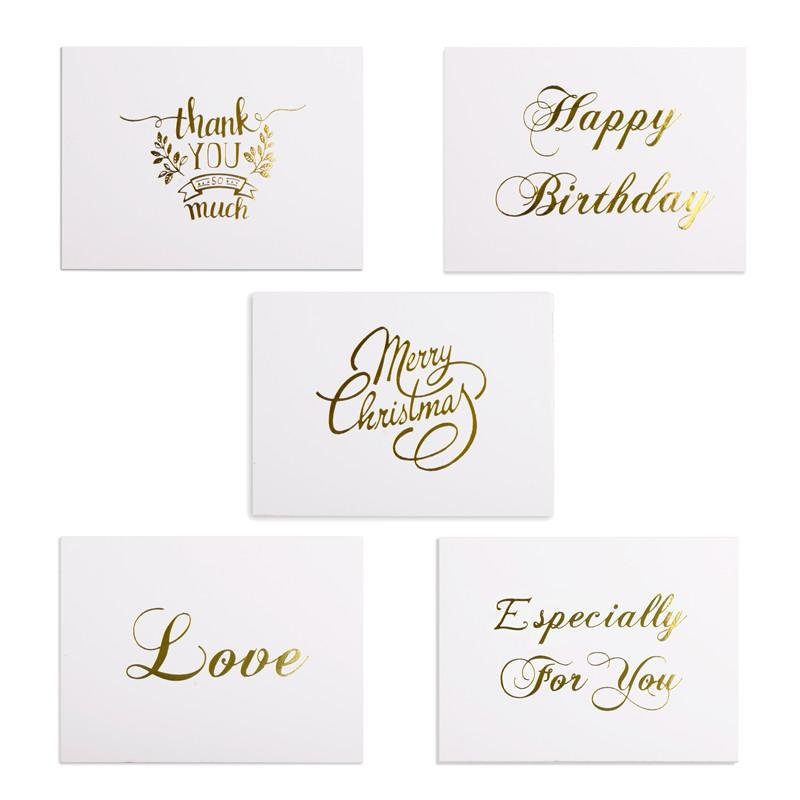 Mini Gold Embossed Thank you Card Valentine's day Happy Birthday Christmas Party Wedding Invitations Letter Greeting Cards 480pcs
