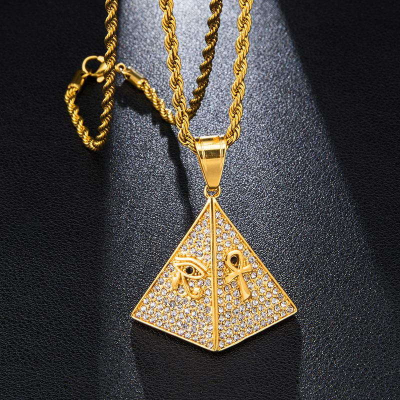 Hip Hop Pyramides d'Egypte en acier titane collier pendentif chaîne pure de couleur d'or Collier bijoux à la mode pour les hommes