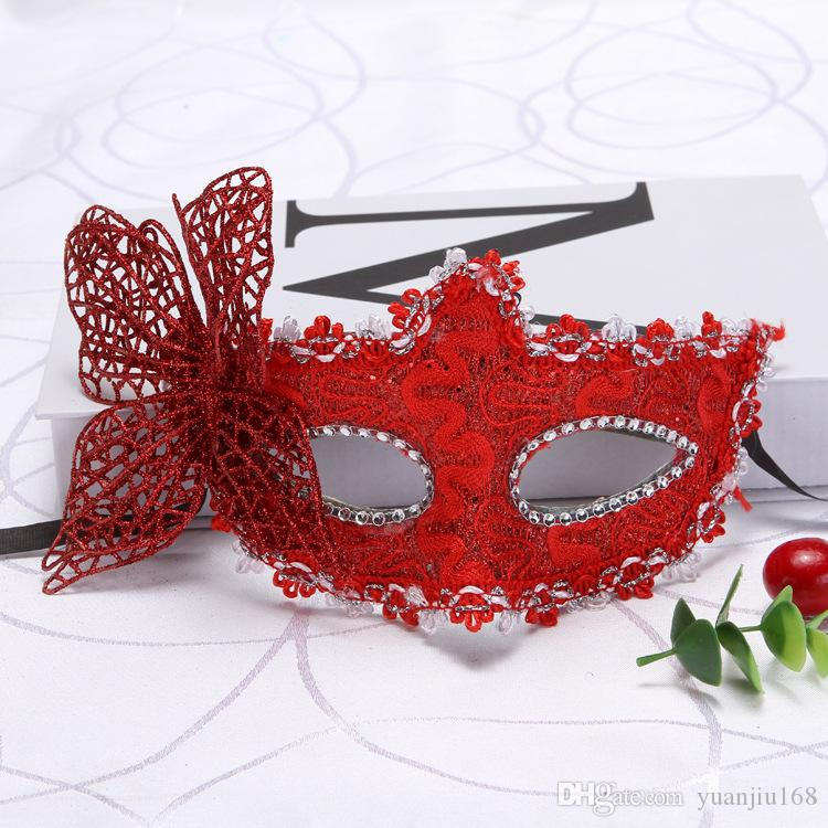 Half Face Mask for Halloween Masquerade Venice Princess Golden Pink Butterfly Mask Stereo Butterfly Mask WL475