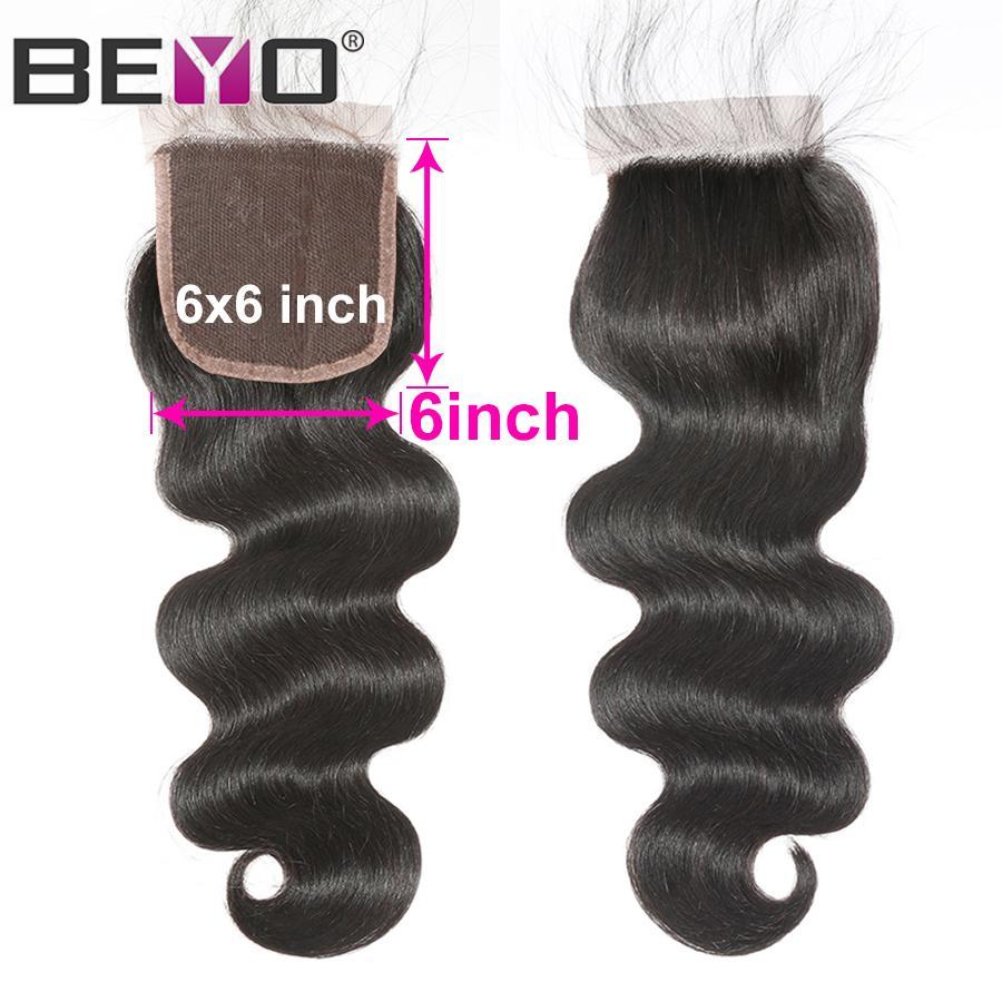 Pré plumé vague de corps de fermeture Dentelle du Brésil Cheveux Moyen Partie de cheveux humains Fermeture libre partie Fermeture Remy Beyo cheveux