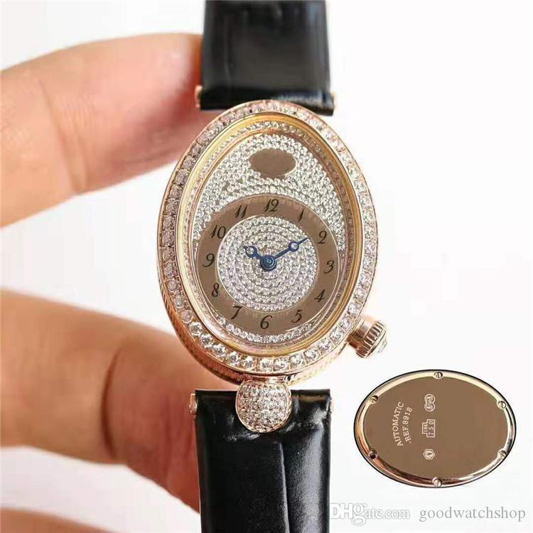 Nouvelle marque DE NAPLES Plein REINE diamant Montre femmes Diamond Watch Cal.537 automatique mécanique Saphir or rose en acier inoxydable 904L