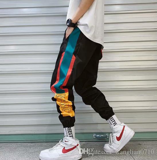 Hip Hop Streetwear Herren Spleiß Jogger Hosen Fashion Men Casual Cargohose Hose High Street Elastische Taille Haremshose Herren
