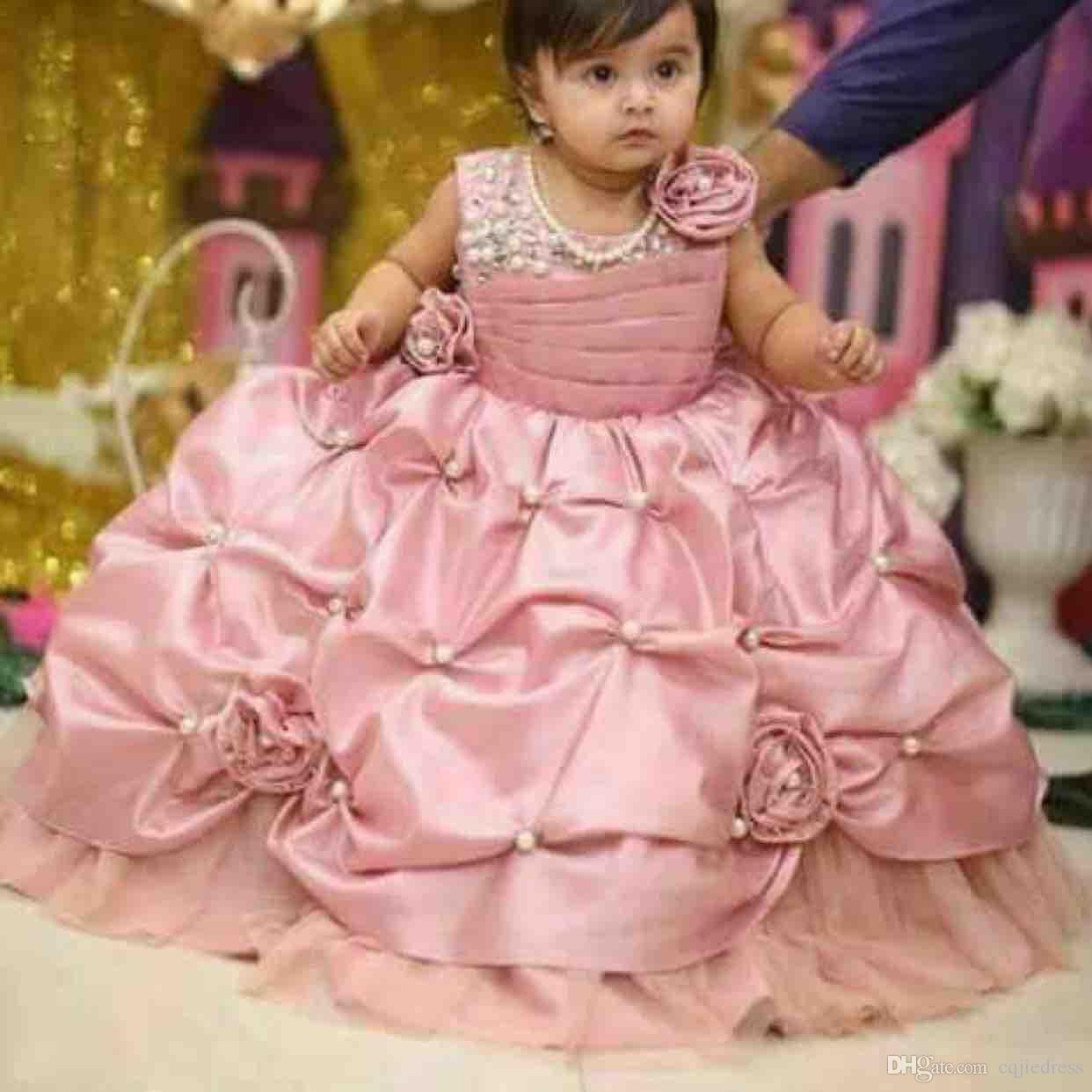 Bush Rose Little Girls Pageant robes New Modeste Volants Puffy Jupe bijou longueur pleine partie florale Princesse 3D Floral Robes