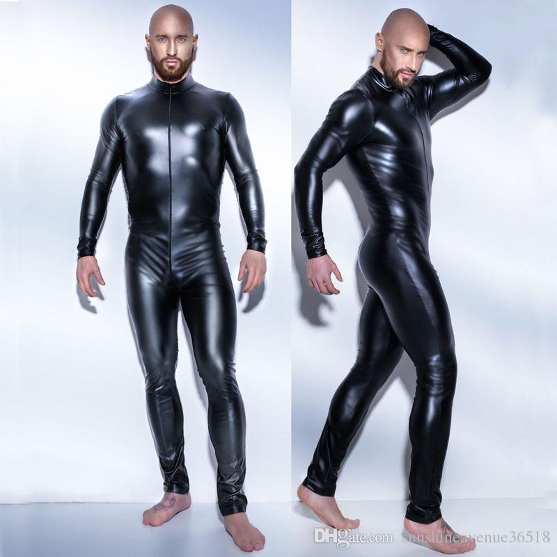 Nueva Llegada de Los Hombres Sexy Body Zipperi Zentai Cosplay Catsuit Traje de Discoteca Masculina Mono de manga larga