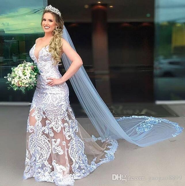 2019 arabic Mermaid Wedding Dresses sweep Train with long veil Elegant sexy spaghetti v neck Illusion lace bridal Gowns vestidos de novia