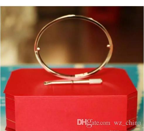 Stainless Steel Love Bangles For Women Men Rose Gold Silver Fashion Screw Bracelets 16-21 Crystal Forever Love Bangle Bracelet