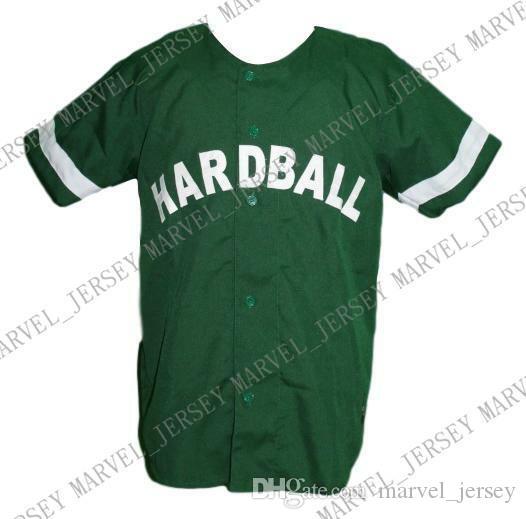 Botão barato Personalizado Lil Wayne Hardball Filme Baseball Jersey Baixo Verde costurado Qualquer jogador Jersey Jersey beisebol da faculdade XS-5XL