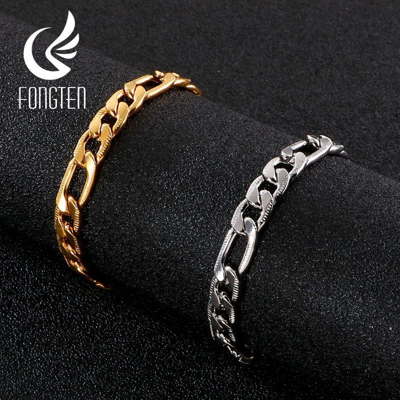Fongten Großhandel Günstige Cuban Runde Kettenarmband-Qualitäts-Edelstahl-Männer Armband Gothic Zubehör