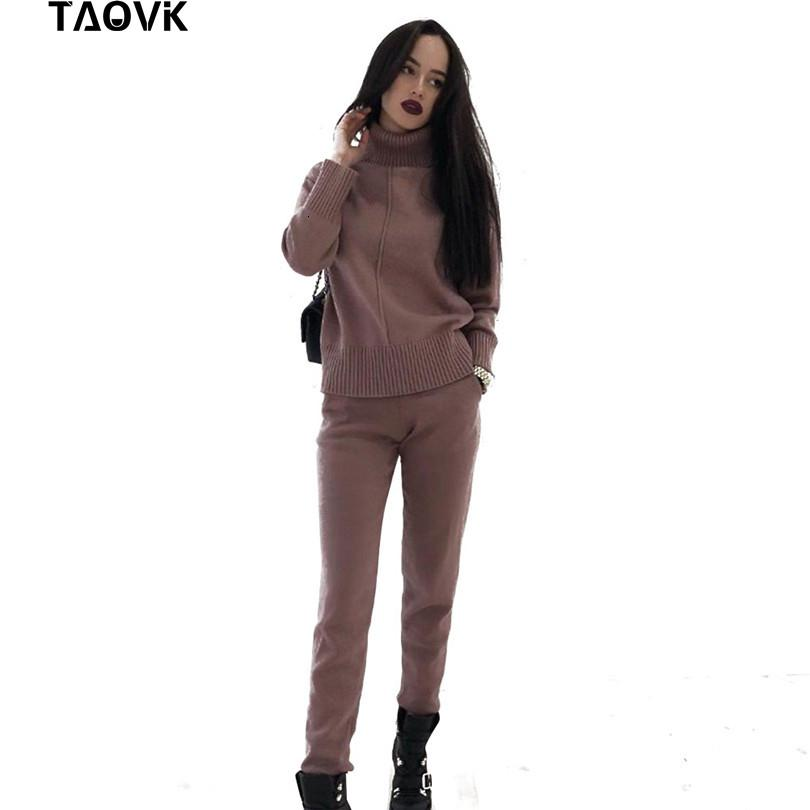 TAOVK Women's knitted Suits Spring sweater set Mid Line Turtleneck Pullover Sweater Pants two pieces Sets warm Jogging Costumes DT191029