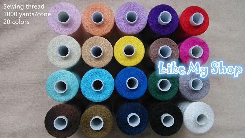 Herhangi makine için ücretsiz kargo 1000 kilometre polyester dikiş ipliği makinesi / el dikiş ipliği yüksek mukavemetli