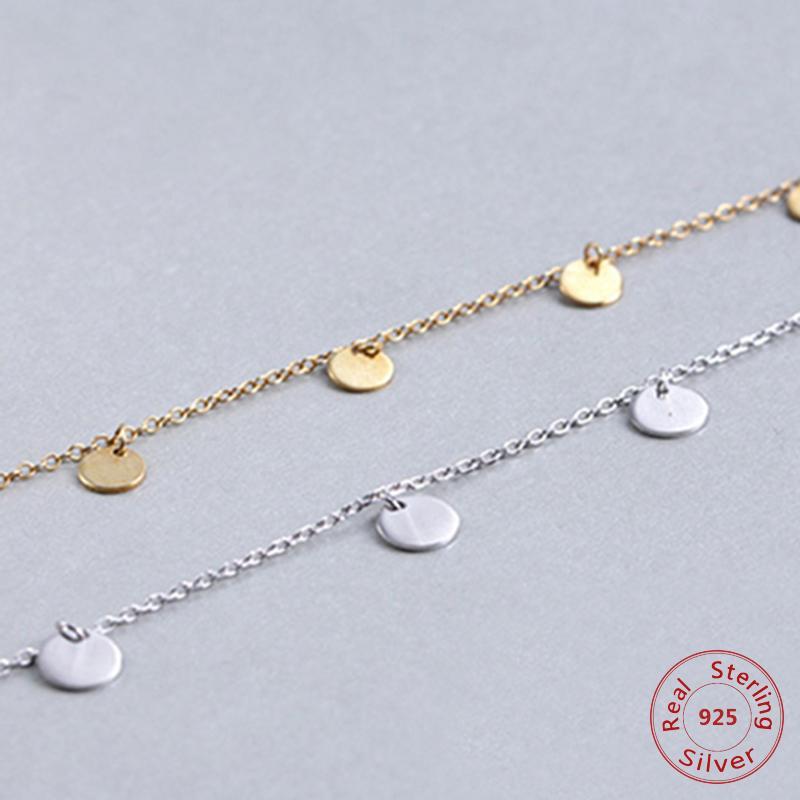 Круглый колье ожерелье звено цепи партии малый круг Шарм для женщин розовое золото мода 925-стерлингового серебра ювелирные изделия подарок