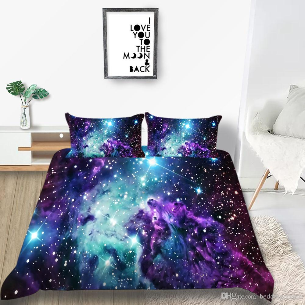 3D Starry Sky pattern Flat Sheet Bed Sheets Single Double King Size Pillow Case