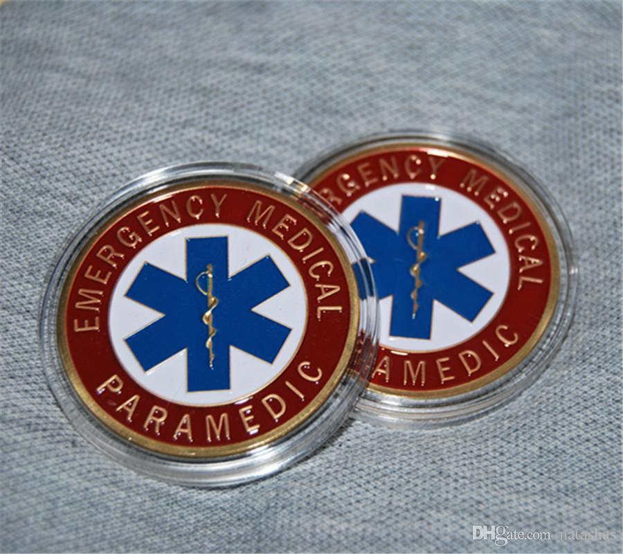 SME EMT servizi di emergenza Star of Life Paramedico Medical Rescue sfida della moneta, trasporto libero del DHL argento Mix / design Oro