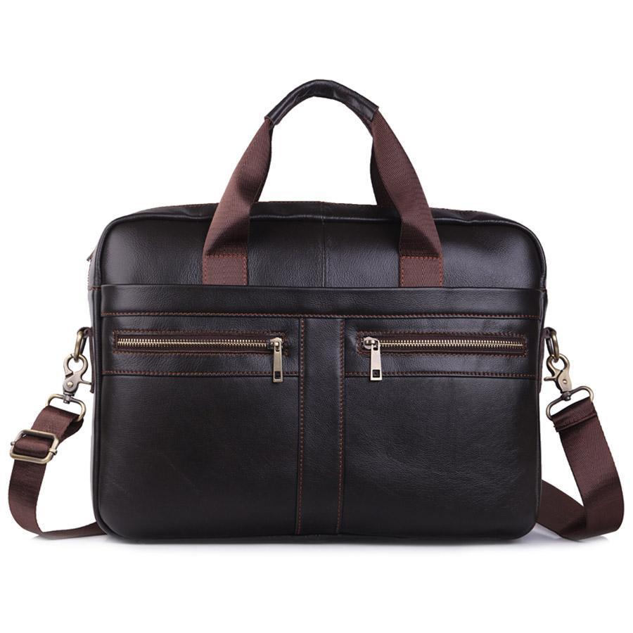 Echtes Leder Schultertasche Männer Handtasche Male Kuhfell Messenger Bag Cross Body Handle-Pack 15' Aktentasche