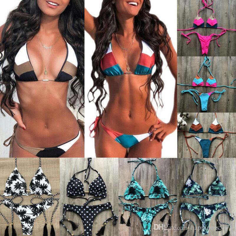 Las mujeres de la borla de cabestro bikini de cintura baja Impreso de baño push-up Sujetador Planta Imprimir traje de baño de dos piezas de la vendimia atractiva del bikini ropa de playa