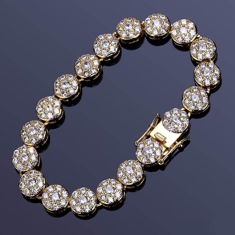Мода-золото и белое золото хип-хоп полный бриллиант теннисный браслет Iced Out CZ кубический Циркон наручные цепи ювелирные изделия подарки для мужчин женщин