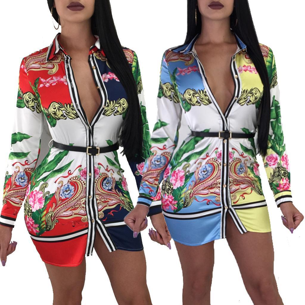 19 XL código estándar europeo y americano de moda los modelos de explosión de impresión en caliente y popular de las mujeres multi-color de la camisa de la falda 8052011