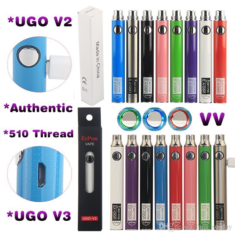 Oryginalny Evod Rehaat VV Variable Voltage Micro USB ECIG Vape Pen Bateria z ładowarką EGO 510 Wątek UGO V3 V2 Vaporizer 650 900mAh