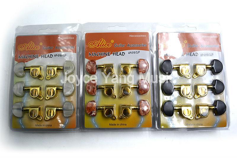 Alice Altın Kaplama Beyaz / Kırmızı / Siyah Akik Alt Akustik Gitar Tuning Pegs Tunerleri Machine Head 3L + 3R Mühürlü