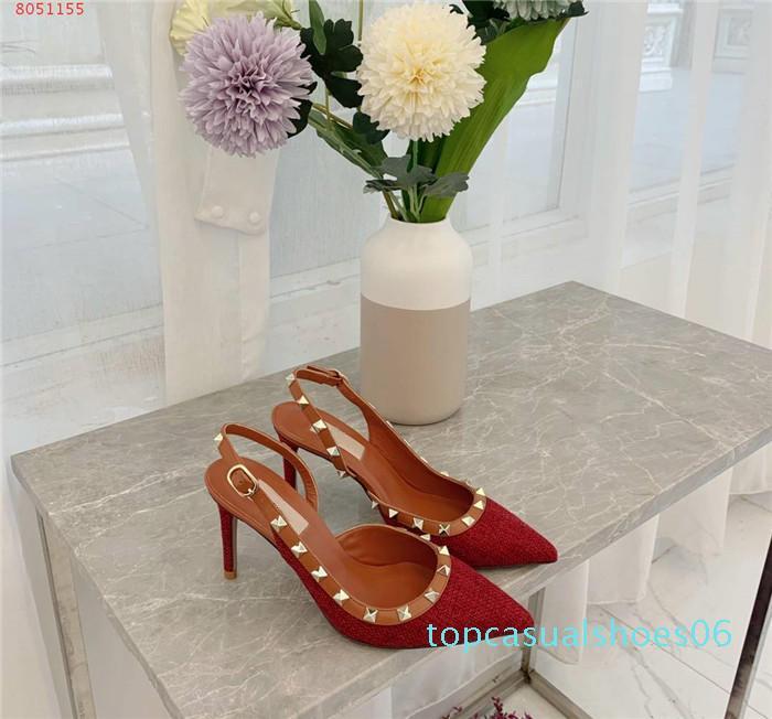 Elegant Women Slingback Pump In Denim Designer Pointed Toe High Heel With Rivet Fashionable High Heel Sandal With Box Size 34-40 t06