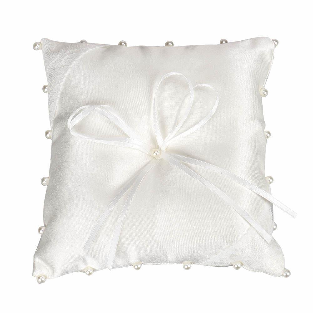 Nouvelle taie d'oreiller promotionnelle Petit Satin Bowknot Bague De Mariage De Poche Anneau Coussin Perle