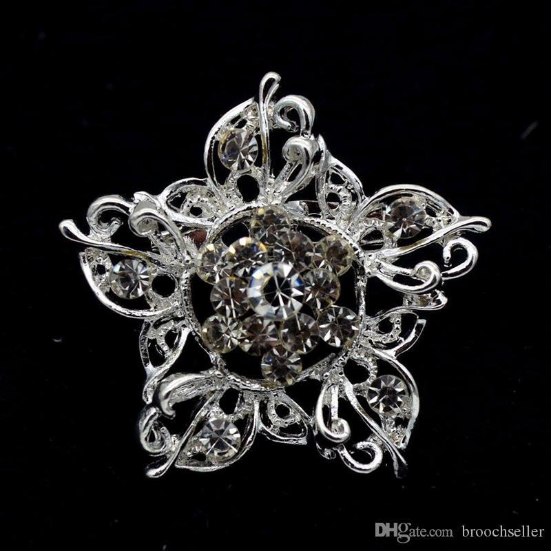 1.4 인치 아름다운 클리어 라인 스톤 크리스탈 디아 작은 스타 꽃 브로치 사용자 정의 핀 실버 톤