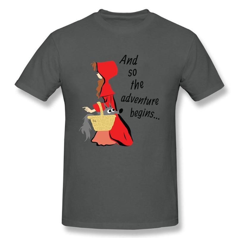 리틀 레드 라이딩 후드와 그녀의 늑대 강아지 짧은 소매 티셔츠 남성 새로운 디자인 Tshirts 코 튼 O 목 남성 T 셔츠 그룹에 대 한