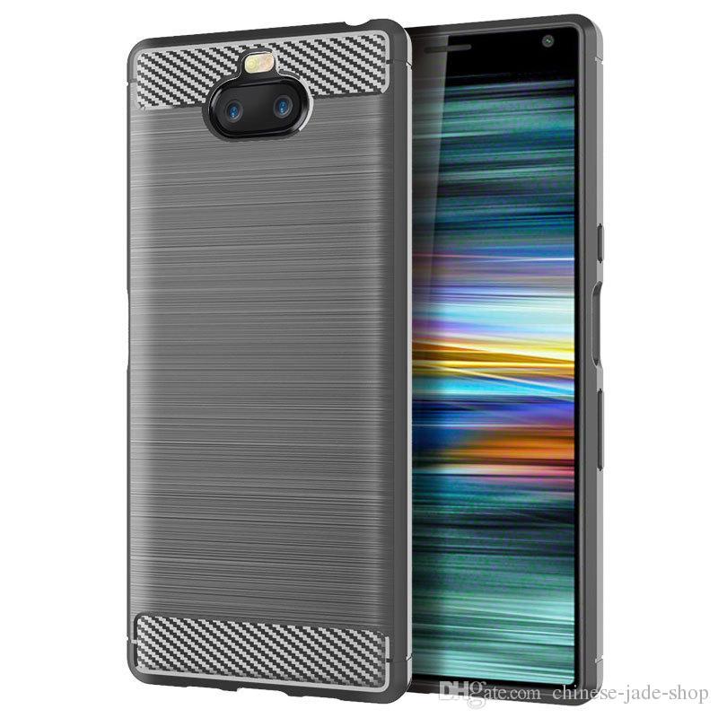 1.5MM Karbon Elyaf Doku İnce Zırh Fırçalı TPU VAKA KAPAK İÇİN Sony Xperia 10 10 PLUS Z4 OYUN XA3 Ultra XA2 PLUS 350pcs / lot