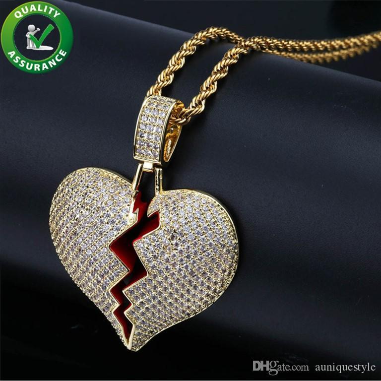 Iced Out Pendant Designer Necklace Hip Hop Jewelry Mens Gold Chain Pendants Solid Red Heart Break Gold Silver Pandora Style Charms Love Gift