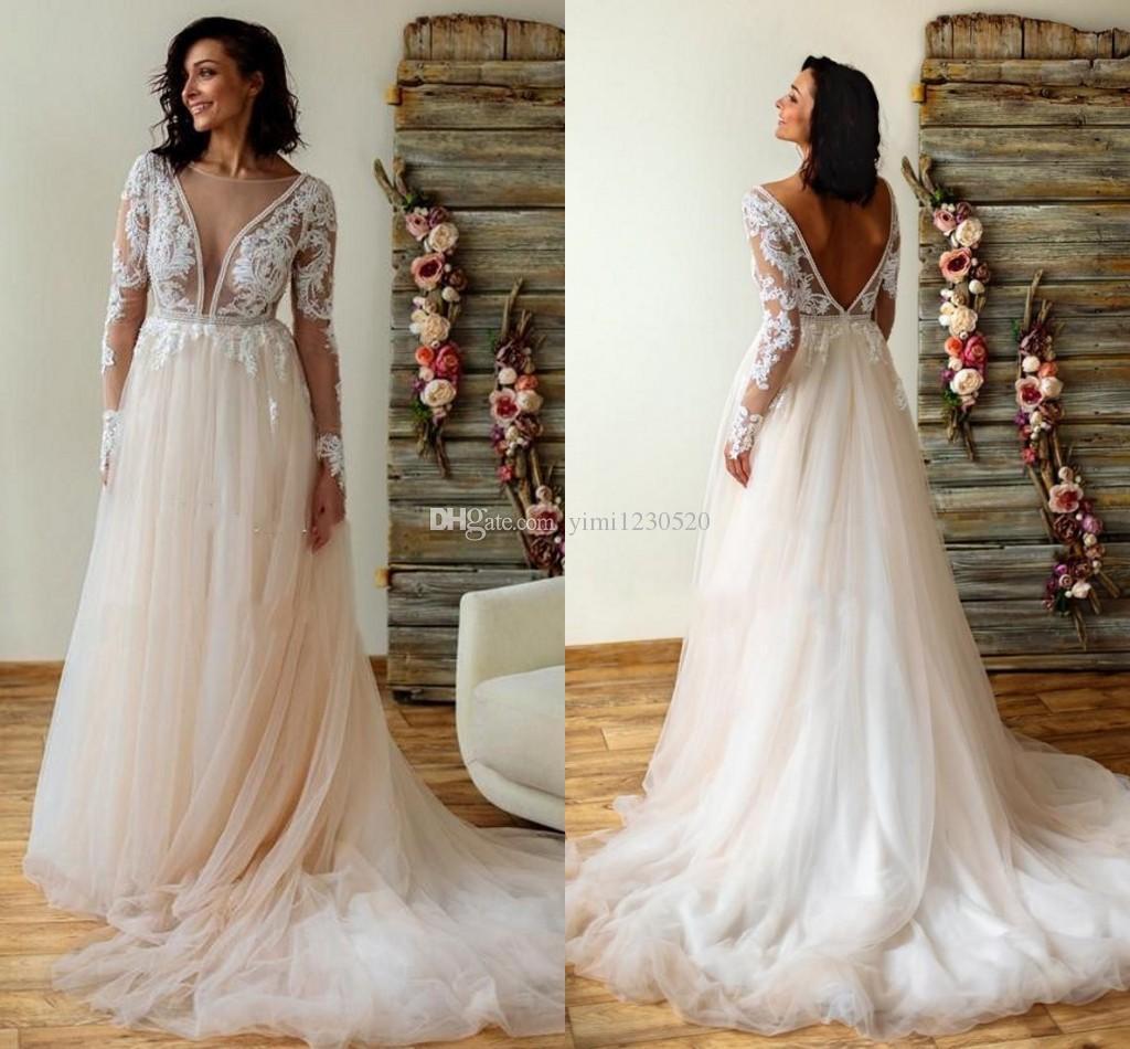 Elegantes vestidos de novia 2020 sin respaldo de manga larga tren de barrido ilusión blusa apliques cuentas país jardín vestidos de novia vestidos de novia