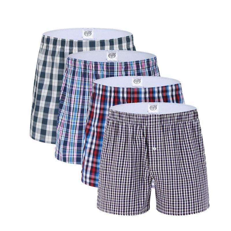 3 حزمة كلاسيكي منقوشة الرجال الملاكم السراويل ملابس داخلية رجالي الملاكمين ملابس داخلية جذوع القطن لالذكور نسج ذكر بوكسر سراويل السهم