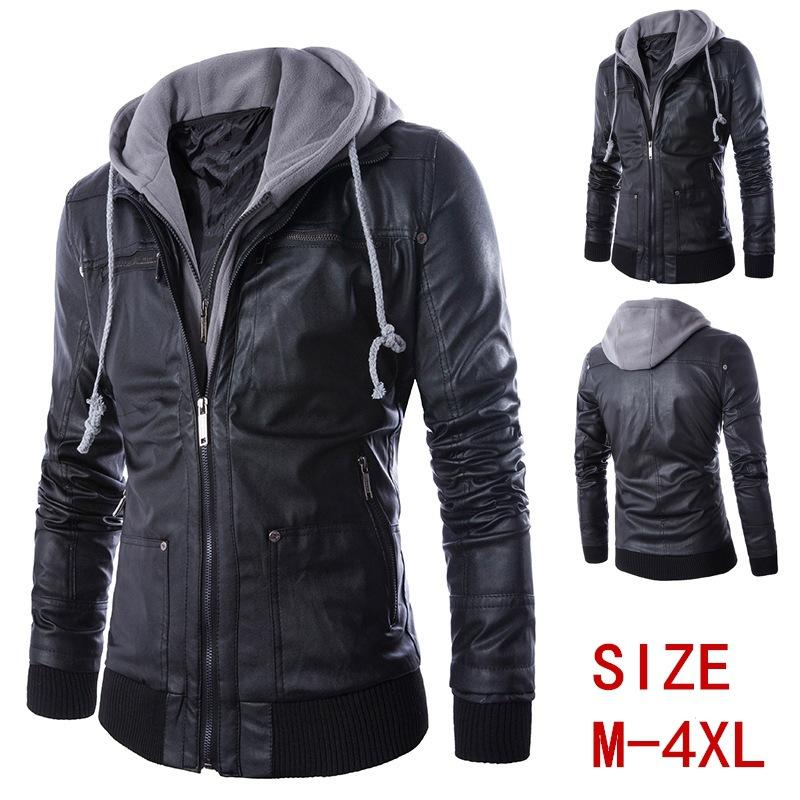 Spring and Autumn Men's Leather Jacket European and American Hooded Men's Motorcycle Leather Jacket coat