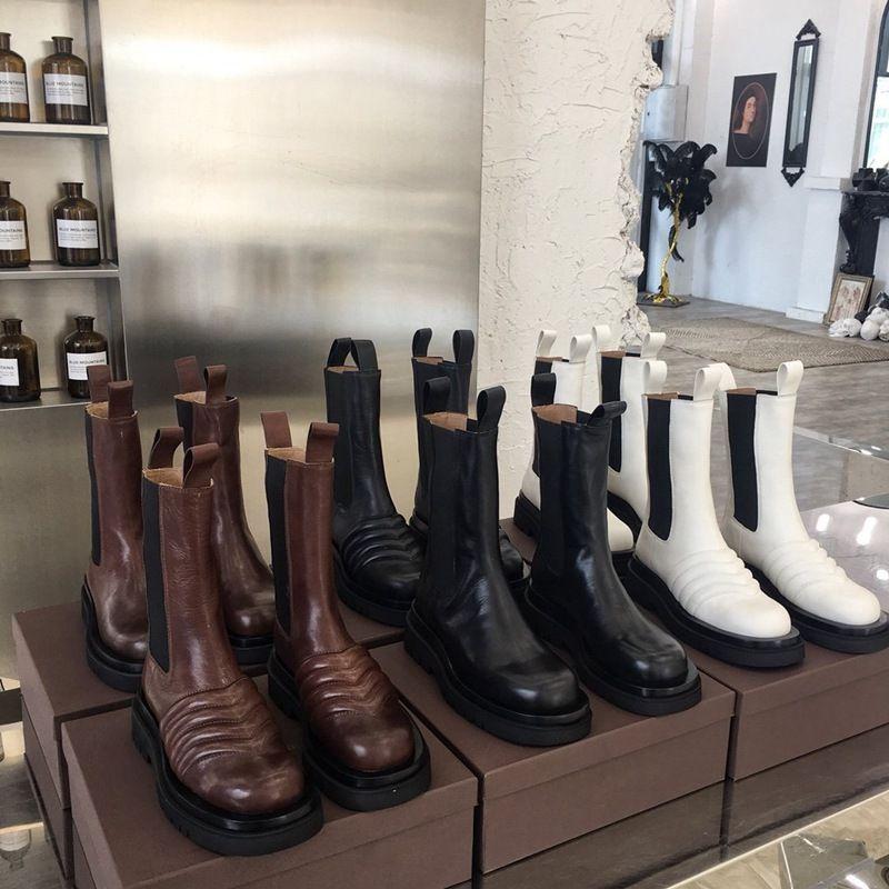 Marque bottillons BOTTES MI-CALF STORM femmes bottes plate-forme CUIR 2019 nouvelles femmes de créateurs de luxe de démarrage dame de la mode bottes