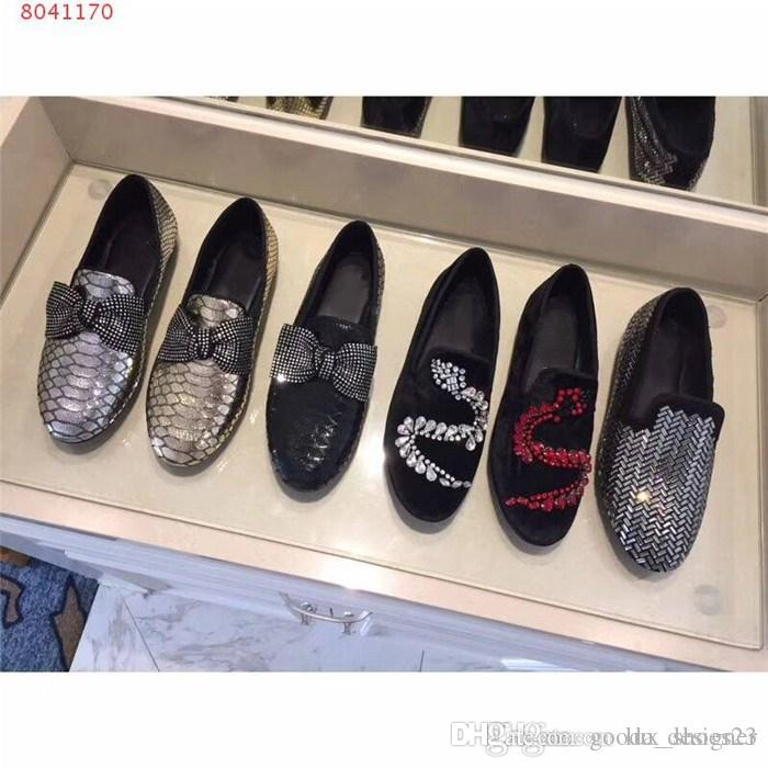 Ladies fashion leather sequins water drill low-top,low heel casual shoes loafers,Bow knot slip for lazy driving shoes