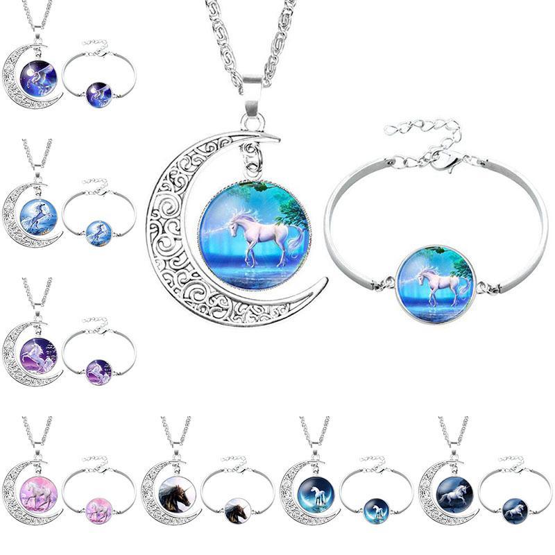horse Moon Pendant White Horse Unicorn Necklace Unicorn bracelet Jewelry hollow time gemstone pendants glass jewelry Sweater Chain