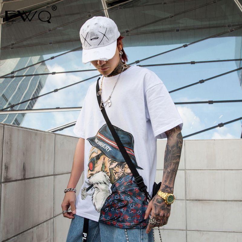 EWQ / High Street T-shirt oversize bicchierino manica per gli amanti casuali 2020 nuovo modo Printting Tee collare curvo A256