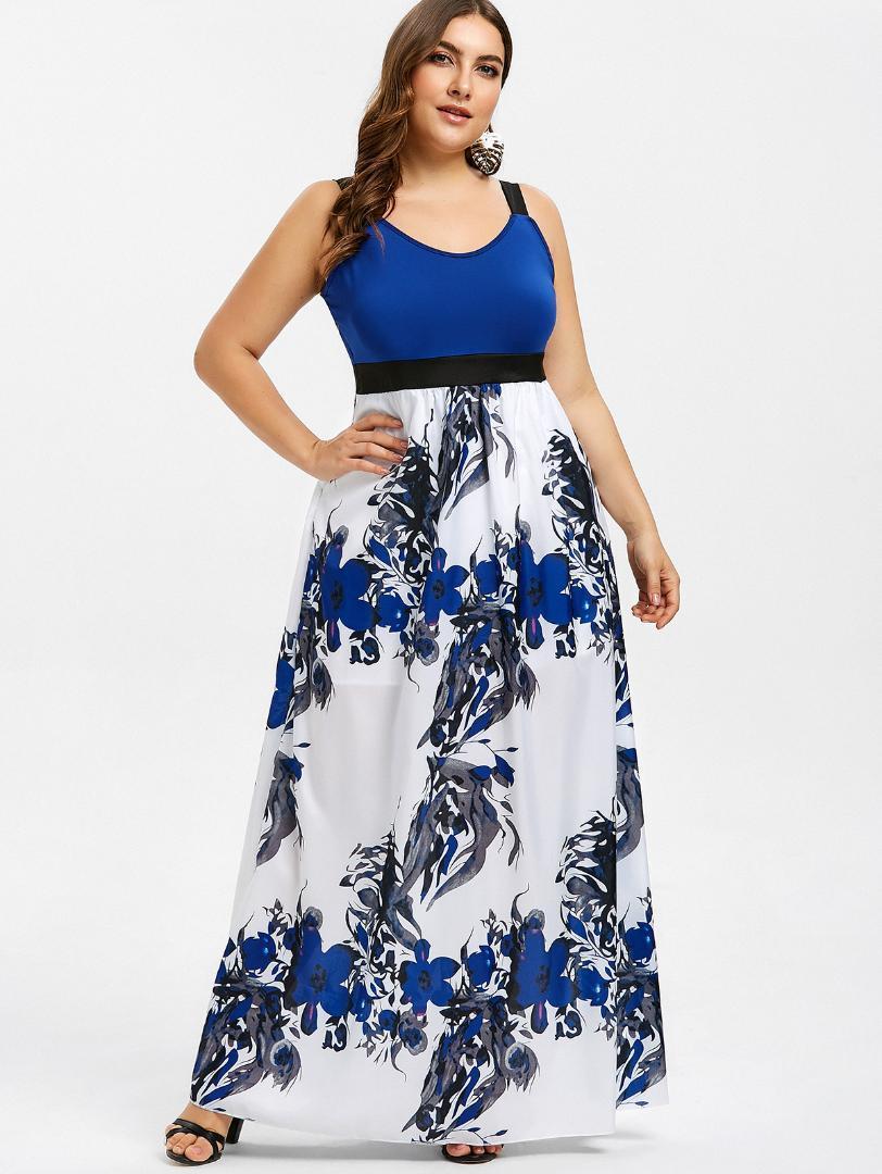 Kenancy Floral Print Plus Size Maxi Dress Casual Sleeveless Empire Waist A  Line Summer Dress Bohemia Beach Vestidos Femme Short Purple Dresses For ...