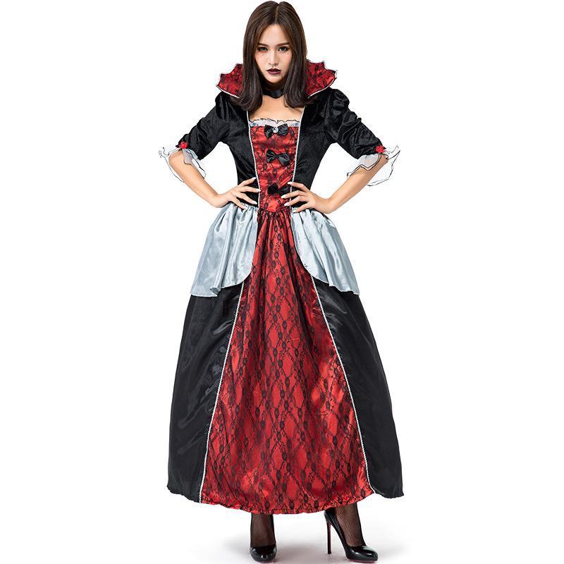 Дамы Gothic Vampire Кровавая Графиня костюм Классические Фильмы Black Red Vampire Halloween Фантазия Костюмированный