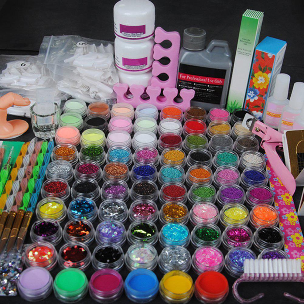 Manikür için Tırnak Sanat Kiti Kristal Rhinestone Fırça Dekorasyon Araçları Kit için Akrilik Manikür Seti 78pcs Akrilik Toz Parıltı