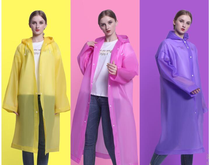 Thickened adult raincoats with hat poncho mens womens handiness outdoor raincoats white yellow gray pink many colors 309