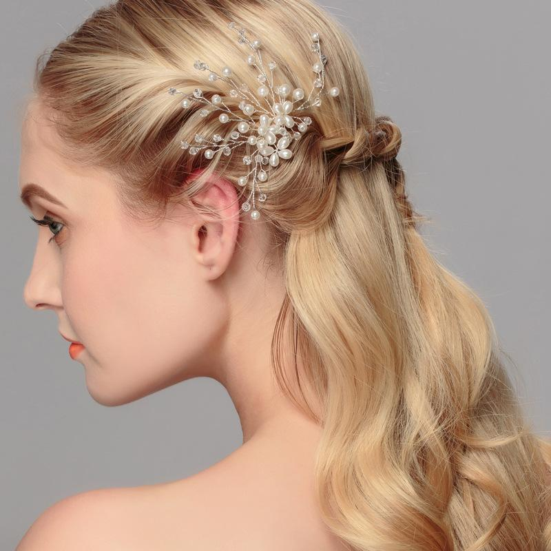 Свадебные аксессуары для волос невесты замуж Корейский цветок голову цветок ручной работы кристалл бисером головной убор замужней жемчуг гребень