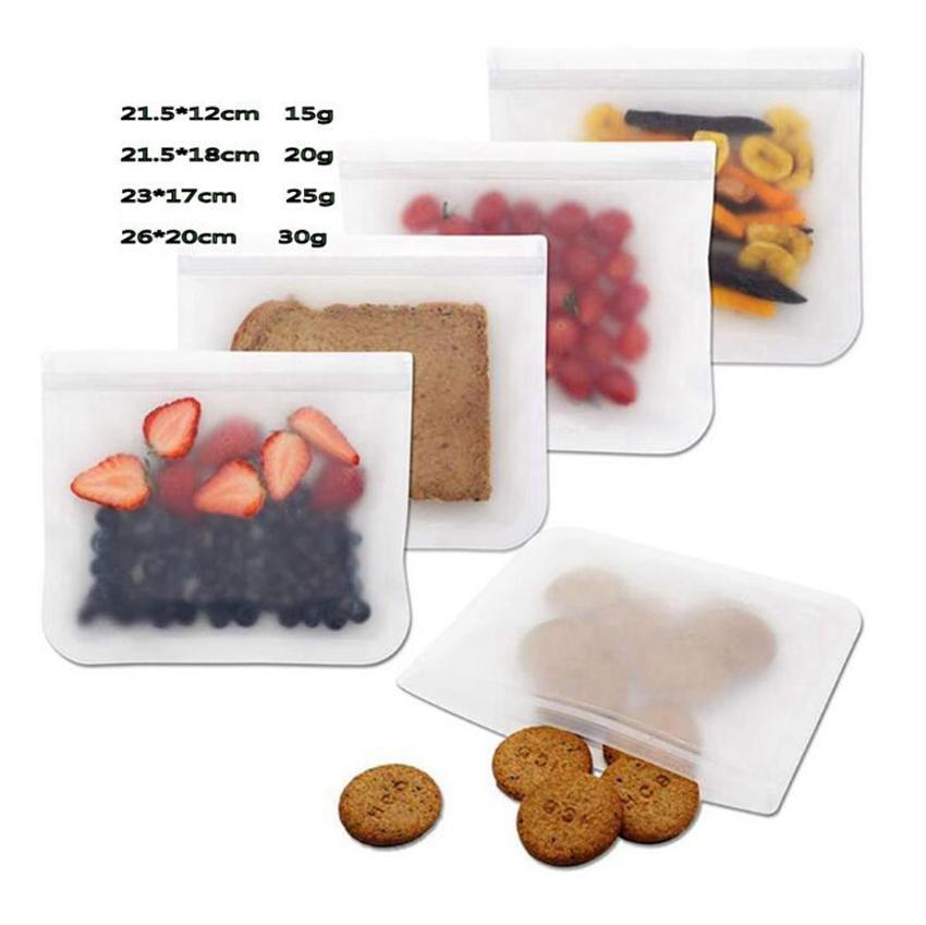 냉장고 식품 가방 재사용 진공 실리콘 식품 신선한 가방 실러 우유 과일 고기 저장 가방 주최자 가방 100 개 OOA7125