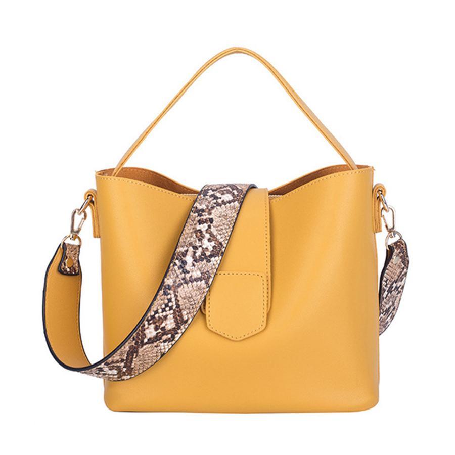 Casual Pu Bucket Bag Women Handbags Serpentine Strap Shoulder Bags Lady Large Capacity Messenger Bags 2019 Sac Crossbody Bag Y19052801