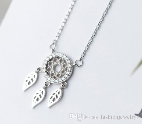 925 Sterling Silver Dreamcatcher Feather Charm Necklace Pendant Women Dream Catcher Pendant Statement Choker Necklace Lady Women Jewelry