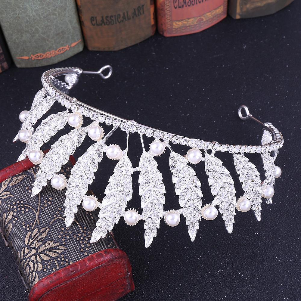 Dinner Jewellery 2020 lady H1178 Korean leaf Princess hair, Rhinestone Pearl head, Baroque crown, bridal wedding dress accessories
