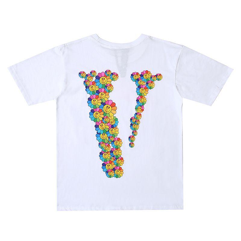 Vlone новых людей Стилист T Shirt Vlone Мужчины Женщины Высокое качество цветов печати Черный Синий Футболка Hip Hop Тис Размер S-XL