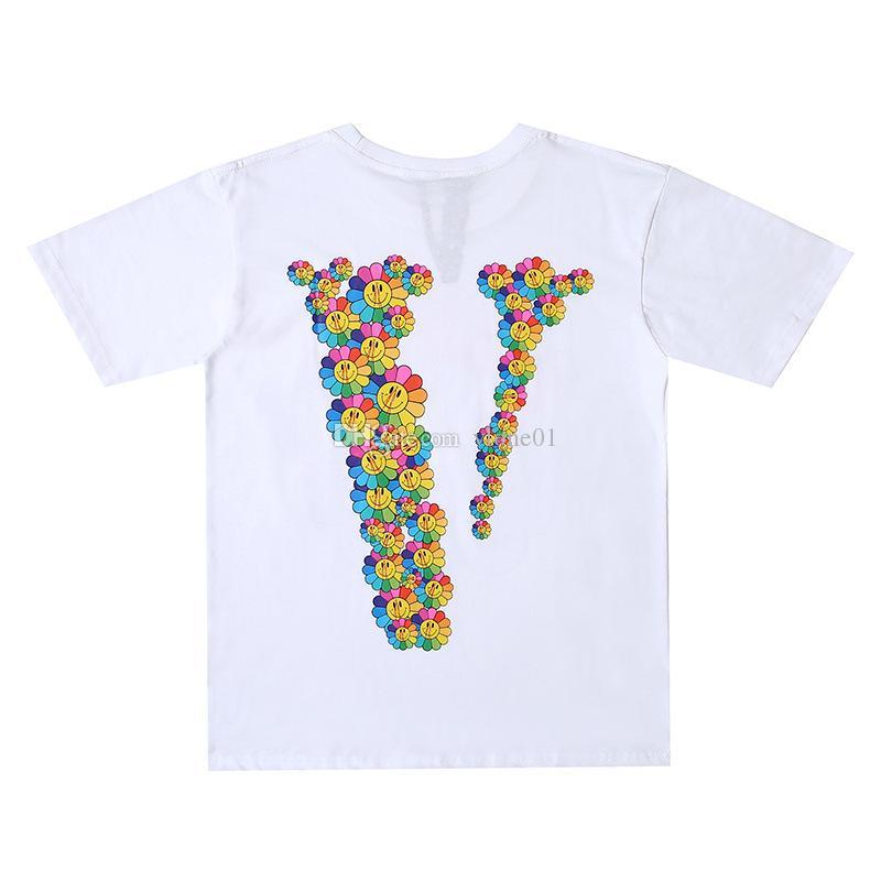 Vlone neue Mens-Stylist-T-Shirt Vlone Männer Frauen-Qualitäts-Blumen-Druck Schwarz-Blau-T-Shirt Hip Hop-T-Shirts Größe S-XL