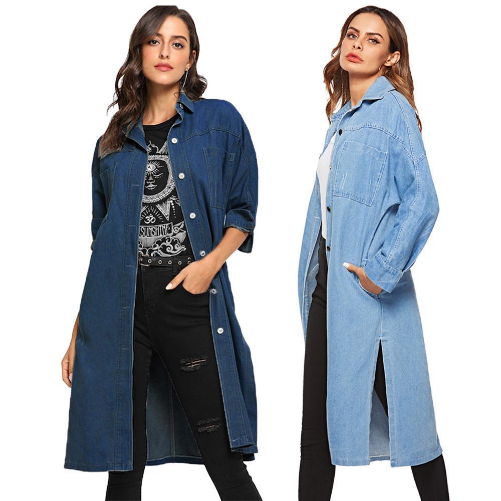 New Women Long Down Coat Denim Casual Giacca da jeans Fessura laterale Al ginocchio Outwear Fashion Cappotto monoposto in autunno primavera