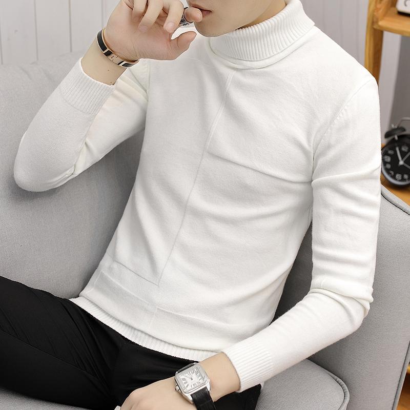 branco masculino Camisola Pulover fino Quente sólido Lapela couverture jacquard roupas masculinas britânicas al