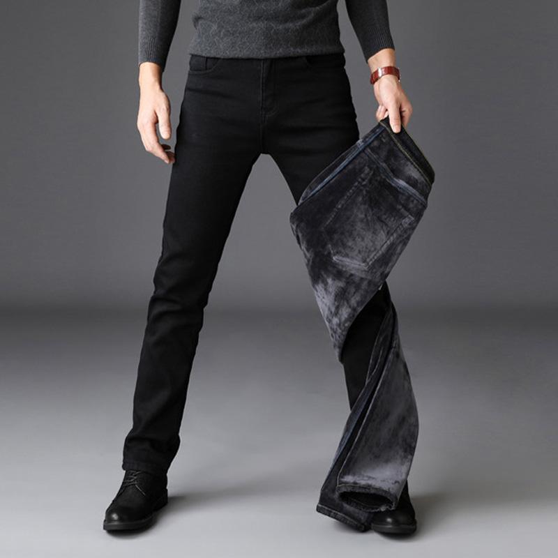 2019 hombres de la moda de los pantalones vaqueros de los hombres de invierno de color Negro Slim Fit Stretch terciopelo grueso de los pantalones calientes de los pantalones vaqueros casual Fleece Pantalones masculinos